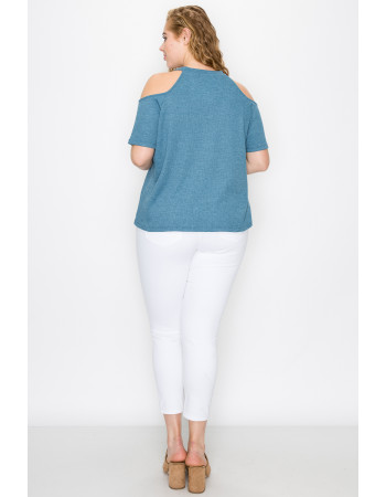THERMAL COLD SHOULDER SHORT SLEEVE CURVE - BLUE