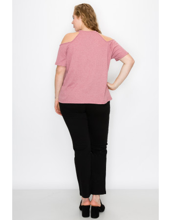 THERMAL COLD SHOULDER SHORT SLEEVE CURVE - MAUVE