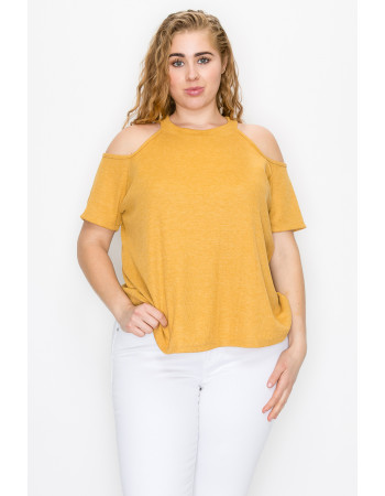 THERMAL COLD SHOULDER SHORT SLEEVE CURVE - MUSTARD