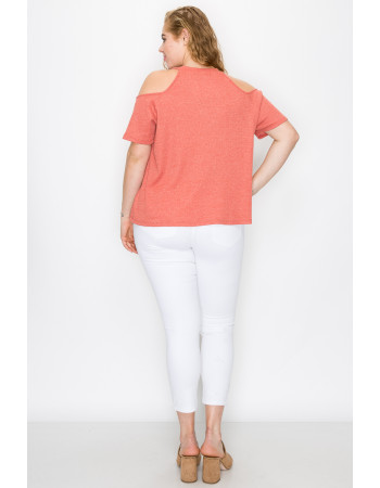 THERMAL COLD SHOULDER SHORT SLEEVE CURVE - PAPAYA