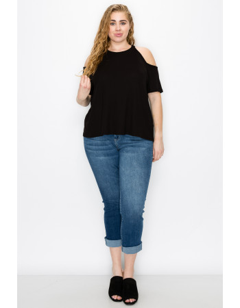 THERMAL COLD SHOULDER SHORT SLEEVE CURVE - BLACK
