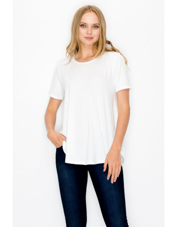 FRENCH TERRY SWING TEE - WHITE