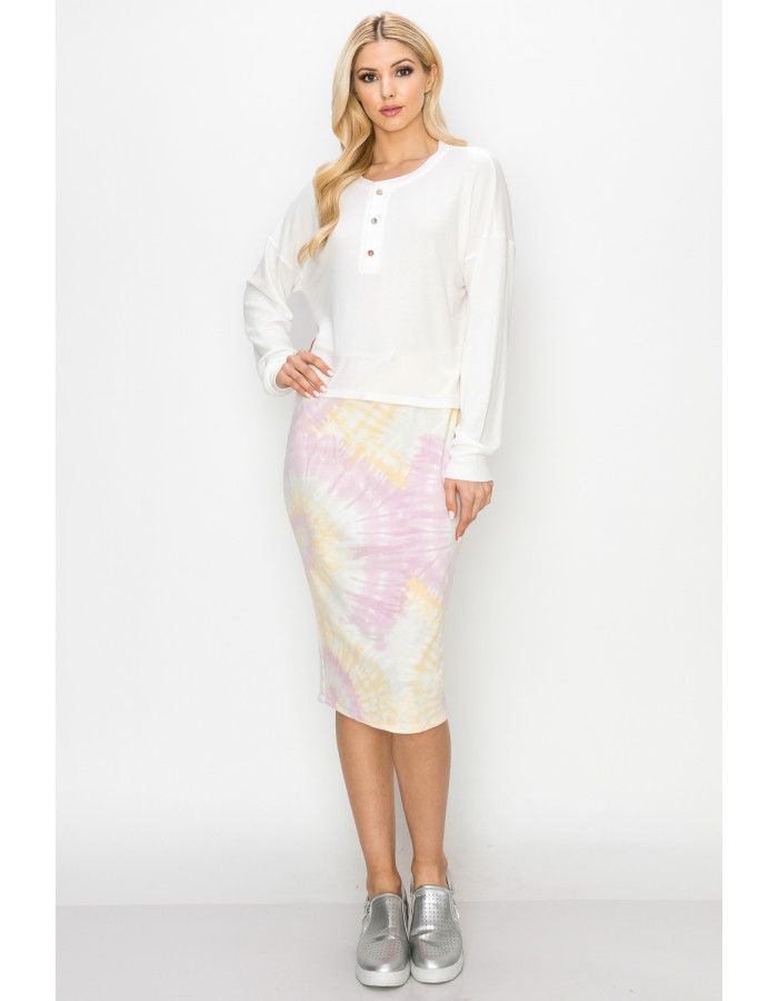 TIE DYE FRENCH TERRY DRAW STRING PENCIL SKIRT - PINK / BANANA