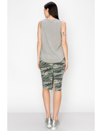 CAMO PRINT FRENCH TERRY DRAW STRING PENCIL SKIRT