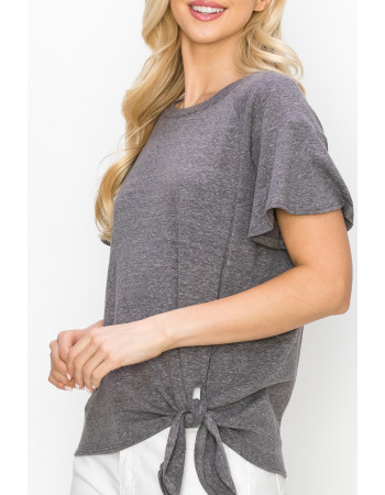 SOLID Q-BLEND FLOUNCE SLV SIDE TIE - CHARCOAL