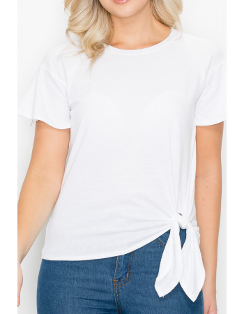 SOLID Q-BLEND FLOUNCE SLV SIDE TIE - OFF WHITE