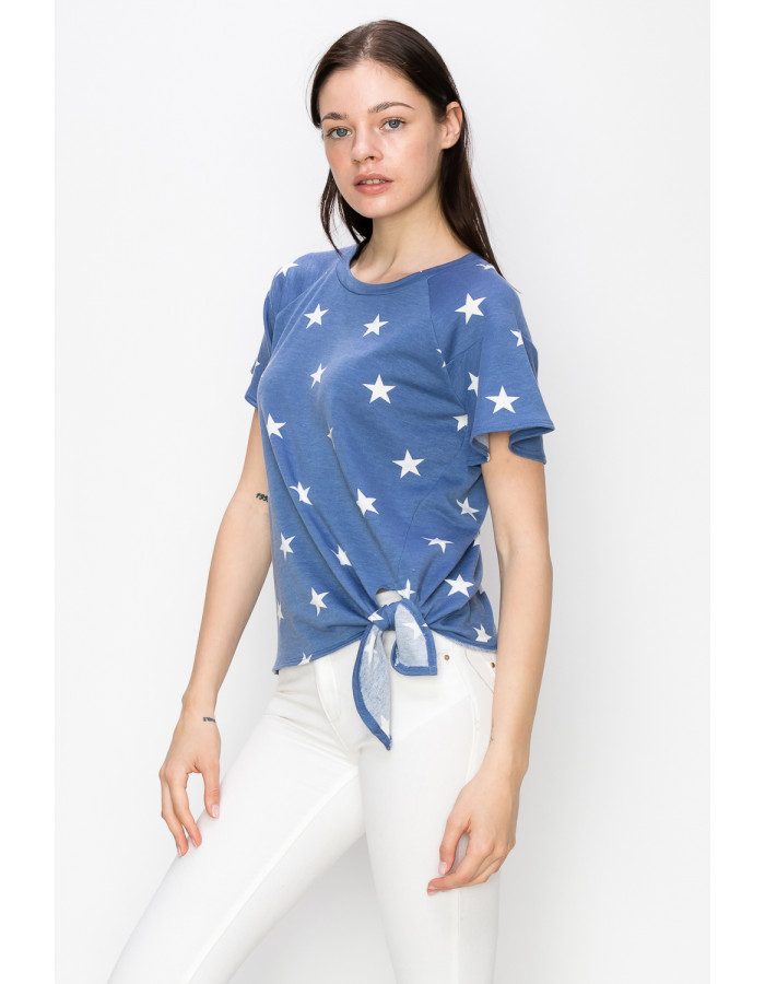STAR FRENCH TERRY FLOUNCE SLEEVE SIDE TIE