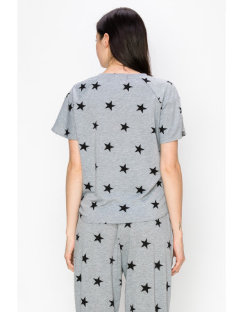 STAR FRENCH TERRY FLOUNCE SLEEVE SIDE TIE - H.GREY