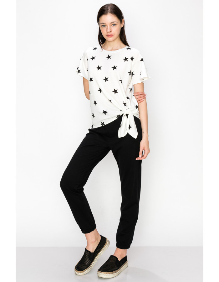 STAR FRENCH TERRY FLOUNCE SLEEVE SIDE TIE - WHITE