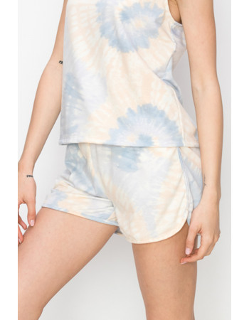 TIE DYE FRENCH TERRY POCKET SHORTS - BLUE / PEACH