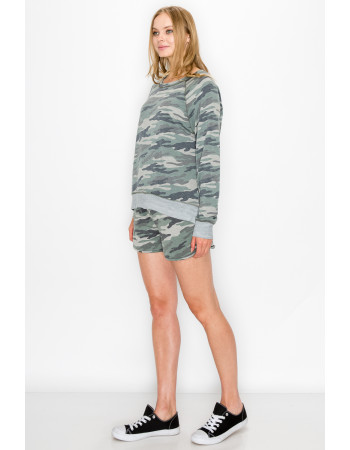 CAMO PRINT FRENCH TERRY POCKET SHORTS