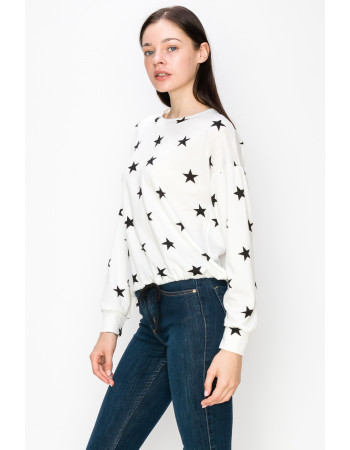 STAR FRENCH TERRY LONG SLEEVE CINCH WAIST - WHITE