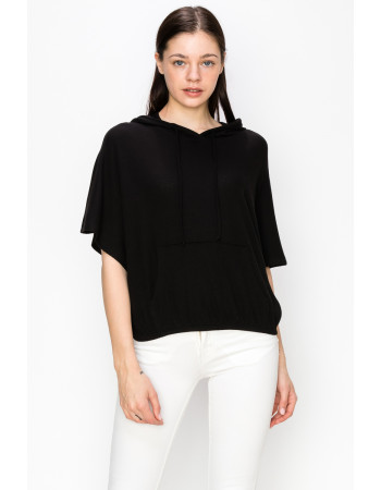 THERMAL SHORT SLEEVE BATWING HOODIE - BLACK