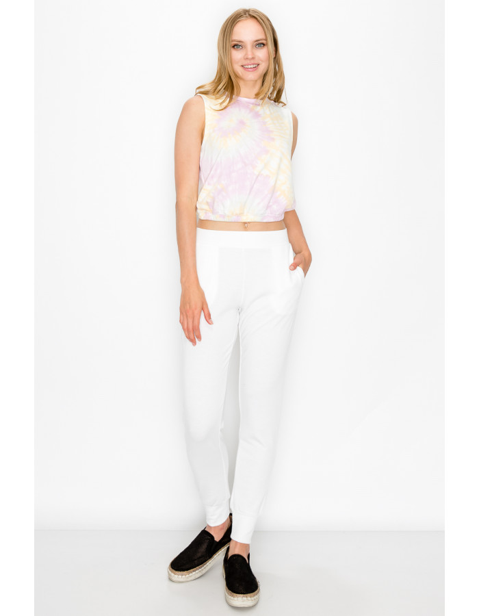 TIE DYE FRENCH TERRY CROPPED TANK - PINK / BANANA