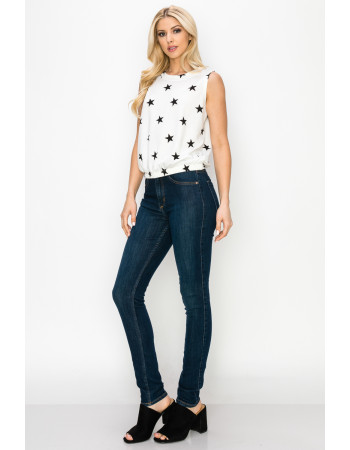 STAR FRENCH TERRY CROPPED TANK - WHITE