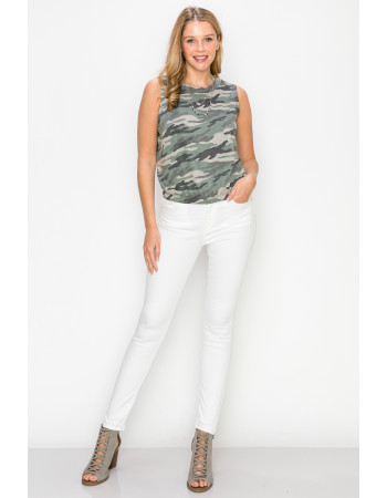 CAMO PRINT FRENCH TERRY CROPPED TANK