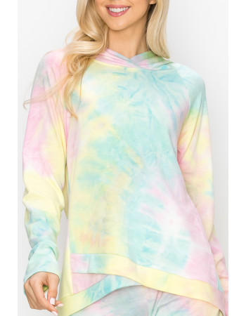 TIE DYE FRENCH TERRY CROSS BAND HOODIE LONG SLV - AQUA / PINK / YELLOW
