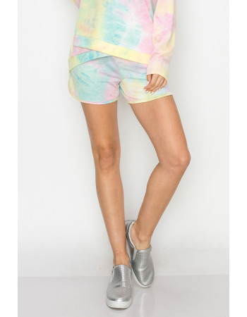 TIE DYE FRENCH TERRY POCKET SHORTS - AQUA / PINK / YELLOW