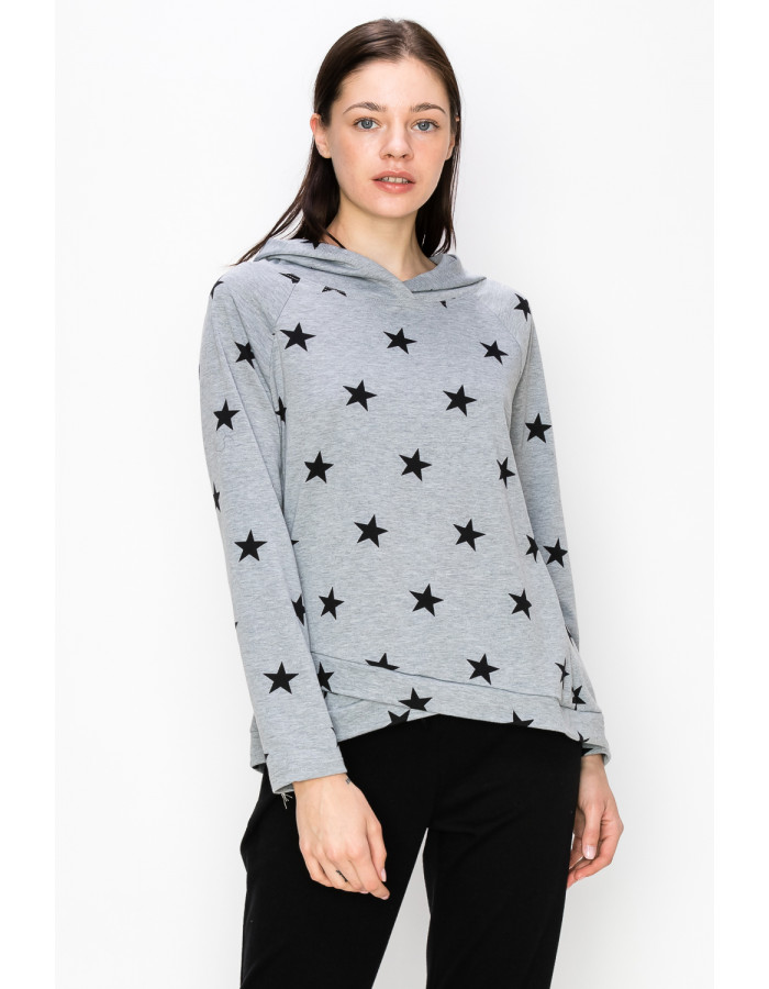 STAR FRENCH TERRY CROSS BAND HOODIE