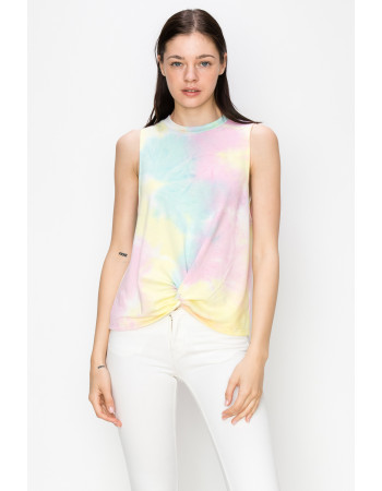 TIE DYE FRENCH TERRY FRONT TWIST TANK - AQUA / PINK / YELLOW
