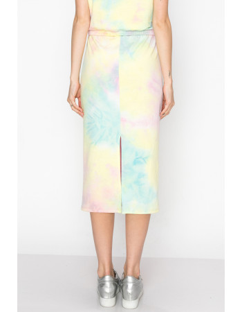 TIE DYE FRENCH TERRY MIDI SKIRT - AQUA / PINL / YELLOW
