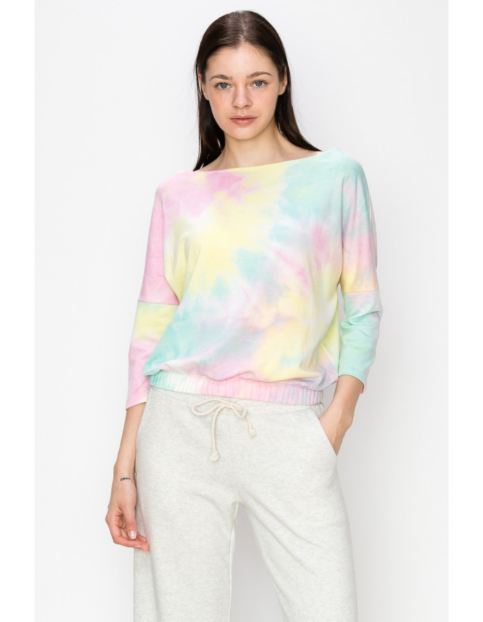 TIE DYE FRENCH TERRY 3Q SLEEVE DOLMAN - AQUA / PINK / YELLOW