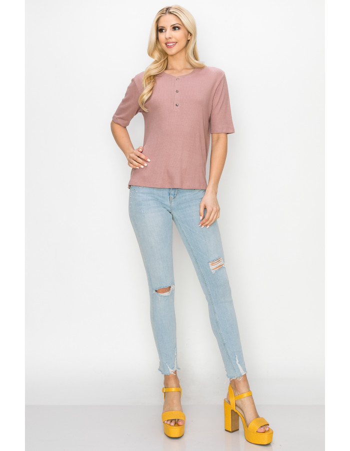 THERMAL SHORT SLEEVE HENLEY - MAUVE PALE