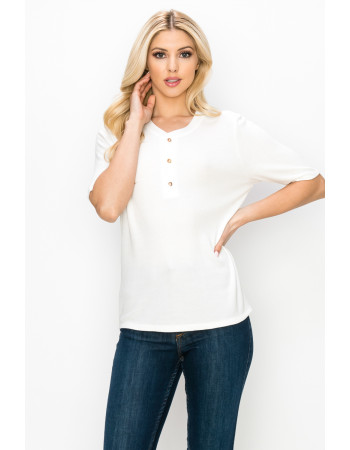 THERMAL SHORT SLEEVE HENLEY - OFF WHITE
