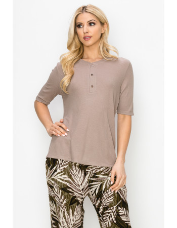 THERMAL SHORT SLEEVE HENLEY - STONE