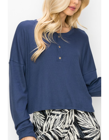 THERMAL LONG SLEEVE CROPPED HENLEY - DENIM