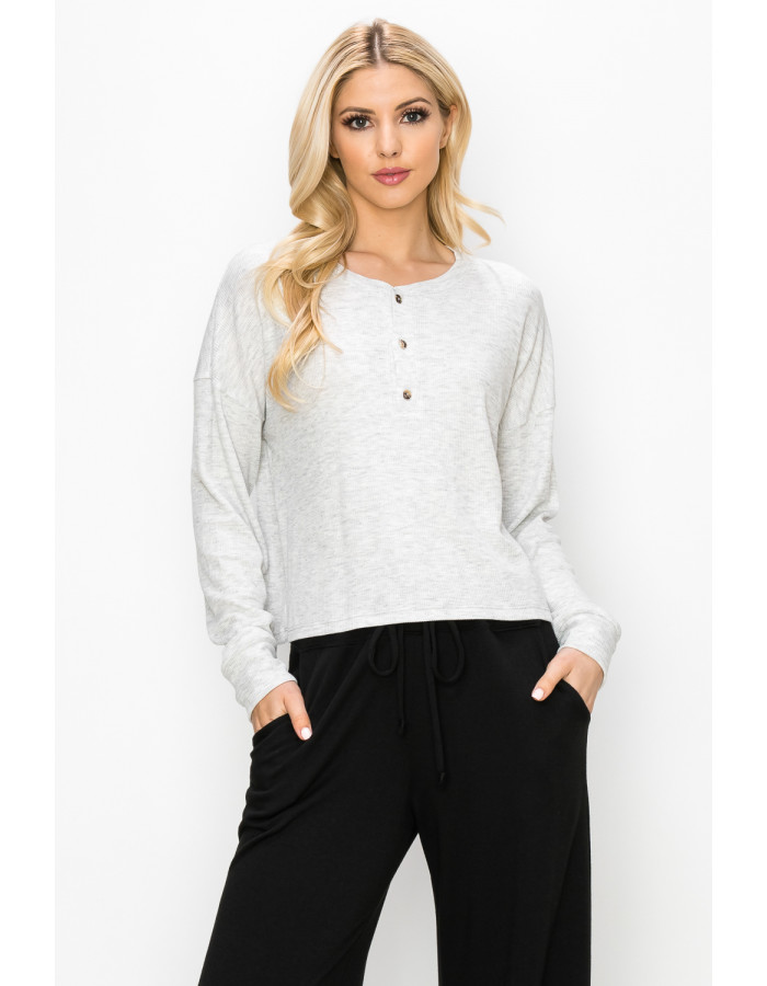 THERMAL LONG SLEEVE CROPPED HENLEY - H.GREY LT