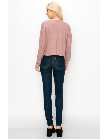 THERMAL LONG SLEEVE CROPPED HENLEY - MAUVE PALE