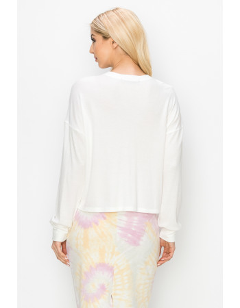 THERMAL LONG SLEEVE CROPPED HENLEY - OFF WHITE