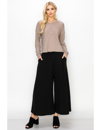 THERMAL LONG SLEEVE CROPPED HENLEY - STONE