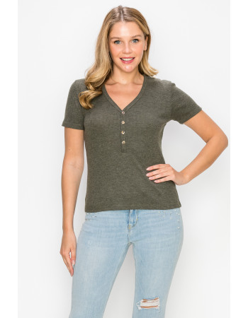 THERMAL SHORT SLEEVE V NECK HENLEY - OLIVE