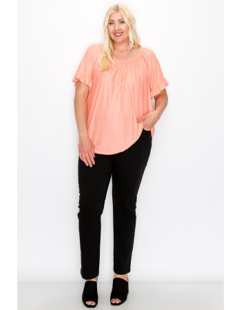 SWISS DOT JERSEY RUFFLE SLEEVE PEASANT CURVE - CORAL