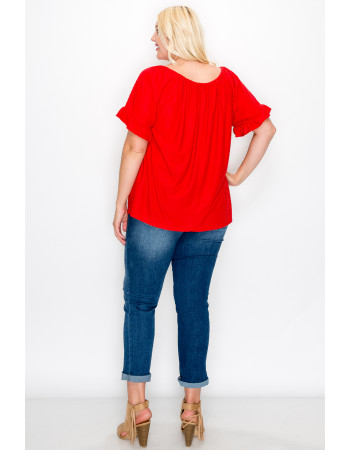 SWISS DOT JERSEY RUFFLE SLEEVE PEASANT CURVE - RED