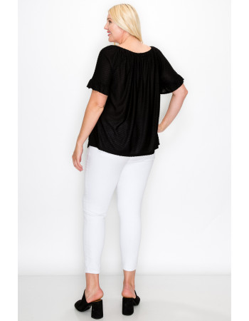 SWISS DOT JERSEY BUTTON FRONT RUFFLE SLEEVE PEASANT CURVE - BLACK