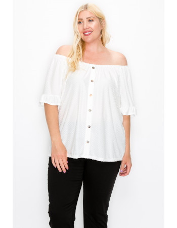 SWISS DOT JERSEY BUTTON FRONT RUFFLE SLEEVE PEASANT CURVE - IVORY