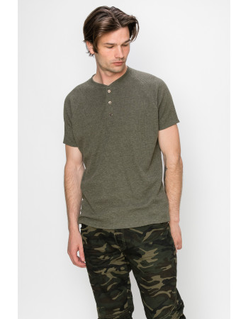 THERMAL SHORT SLEEVE HENLEY - OLIVE
