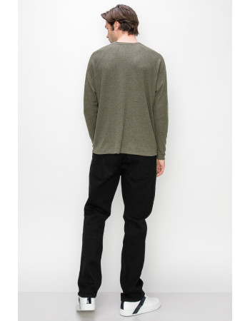 THERMAL LONG SLEEVE HENLEY - OLIVE