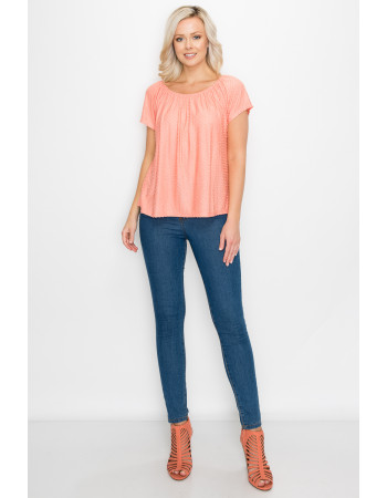 SWISS DOT JERSEY SHORT SLEEVE PEASANT - CORAL
