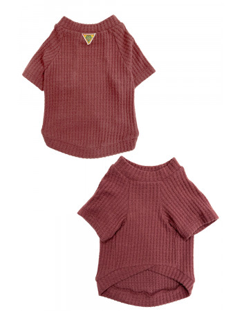 BRUSHED WAFFLE TEE - RED BROWN