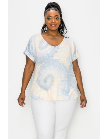 TIE DYE FRENCH TERRY V NECK ROLLED SLV CURVE