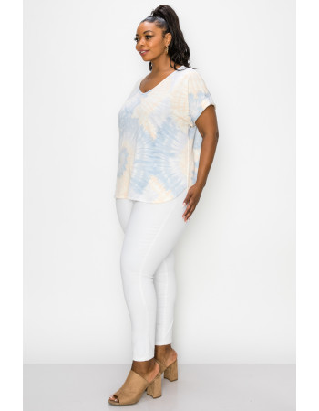 TIE DYE FRENCH TERRY V NECK ROLLED SLV CURVE - BLUE / PEACH