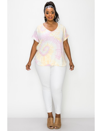 TIE DYE FRENCH TERRY V NECK ROLLED SLV CURVE - PINK / BANANA