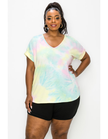 TIE DYE FRENCH TERRY V NECK ROLLED SLV CURVE - AQUA / PINK / YELLOW