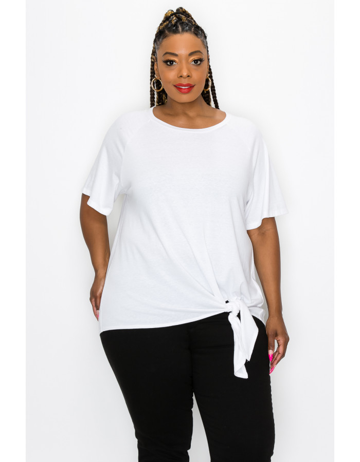 SOLID Q-BLEND FLOUNCE SLV SIDE TIE CURVE - OFF WHITE