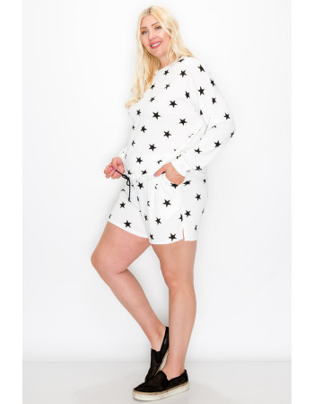 STAR FRENCH TERRY LONG SLEEVE CINCH WAIST CURVE - WHITE