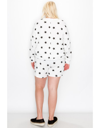 STAR FRENCH TERRY POCKET SHORTS CURVE - WHITE